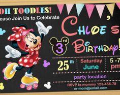 Ratón de Minnie Roller Skating cumpleaños invitación, Minnie mouse invitación, Roller patinaje cumpleaños invitación - archivo Digital