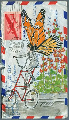 She is on a bicycle with big butterfly wings.i like colour and the picture is busy.