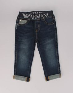 The indigo blue logo waist jeans from Armani Baby have orange top stitching with embossed silver rivets to the faux front pockets and a a silver eagle badge to the rear right pocket. Denim Shorts, Jeans, Formal Shirts, Top Stitching, Band Tees, Indigo, Logo, Clothes, Fashion