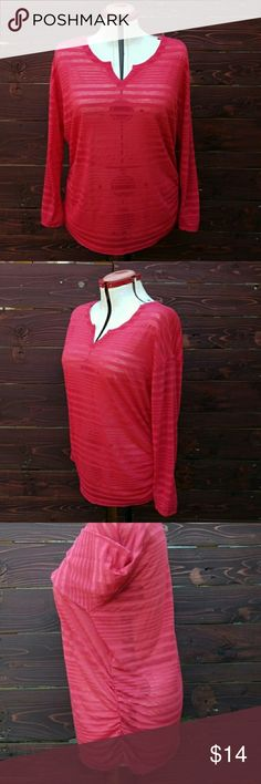 Lane Bryant Long Sleeve Sheer Red Striped Shirt Excellent condition. Lane Bryant long sleeve sheer and red striped V neck shirt. This is a light weight flowing shirt designed with puckering at the waist and is extremely soft. Inventory#45 Lane Bryant Tops Tees - Long Sleeve