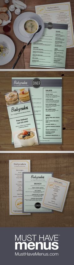 Who says your menu set has to look exactly the same? Coordinate a breakfast dining menu, takeout, table tent and half page with a variety of beautiful themes.  Double click to see more!