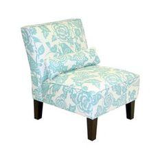 Bird and Floral Print Slipper Chair - Robin's Egg - target.com - master bedroom - formal sitting room?