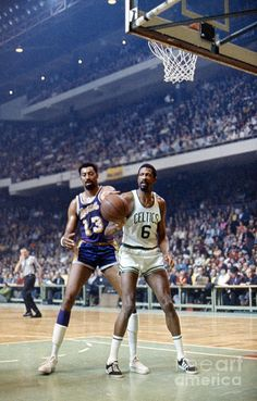 Wilt Chamberlain of the Los Angeles Lakers and Bill Russell of the Boston Celtics, photographed during the NBA Finals at Boston Garden, Boston, Massachusetts, April-May Celtics Basketball, Basketball Legends, Sports Basketball, Basketball Players, Basketball Jones, Basketball Court, Nba Stars, Sports Stars, Sports Images