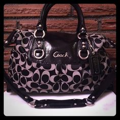 Coach Ashley signature sateen satchel black Coach F15443 Black Off White Ashley Signature Convertible Satchel Black and White Signature Ashley Convertible Satchel with leather trim, satin lining and inside zippered pocket, One multifunction slip pocket. Top zipper closure with leather pull. Silver toned hardware, double handles. 12L X 8H X 5D, MSRP $298 Coach Bags Satchels