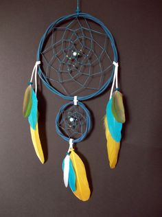 Brazilian Folk Dreamcatcher  Blue Papagay by Mei4life on Etsy, $14.00