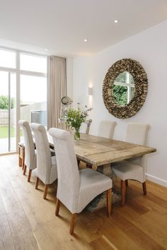 The large dining table at 1 The Sands, a self-catering holiday cottage in Polzeath, North Cornwall. The open plan living space provides the ideal spot for entertaining. North Cornwall, Private Garden, Open Plan Living, New Builds, Sands, Dining Bench, Catering, Living Spaces, Cottage