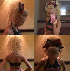 the bigger the better ♡ Cheer Hairstyles, Dance Hairstyles, Cool Hairstyles, Cheerleader Hair, Cheerleading Bows, Cheer Tryouts, Cheer Athletics, All Star Cheer, Cheer Mom