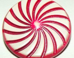 Vintage RED & CREAM Celluloid Button