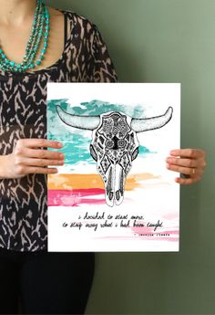 Georgia O'Keefe Quote Cow Skull- 11x14 Metallic Print