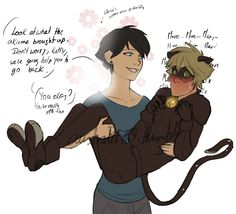 Marichat May Day Age-up Marinette Poor kitty is having a mental breakdown after being hit by an akuma that made him travel to the future and made him fell into Marinette's arms (literally). And altho she is kind of enjoying seeing him like this,. Comics Ladybug, Meraculous Ladybug, Ladybug Cakes, Miraculous Ladybug Fanfiction, Miraculous Ladybug Fan Art, Bugaboo, Marinette E Adrien, Desenhos Halloween, Los Miraculous