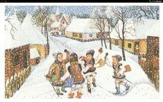 PSORIAZIS-CORESPONDENTA DENIPLANT: Plugusorul , capra, sorcova traditii romanesti Christmas Deco, Christmas Cards, Anul Nou, Ursula, My Childhood, Past, Country, Painting, Outdoor