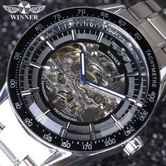 Winner Brand Full Stainless Steel Clock Men Automatic Mechanical Watch Skeleton Military Men Watches Relojes Hombre 2016 #Affiliate