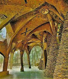 Colonia Güell exterior by architect Antoni Gaudi via Gaudi Designer. Architecture Romane, Romanesque Architecture, Spanish Architecture, Sacred Architecture, Cultural Architecture, Classic Architecture, Architecture Design, Hotel W, Antonio Gaudi