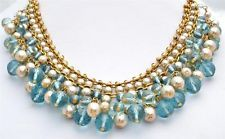 Runway Vintage Carolee Festoon Necklace Signed Blue Topaz Glass Beads Pearl