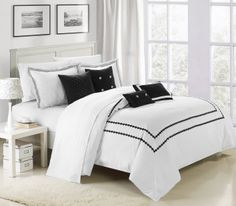 Mandalay 7 Piece Comforter Set in White & Black by Chic Home Bedding And Curtain Sets, Cotton Bedding Sets, King Comforter Sets, Creative Colour, Elegant Homes, Bedroom Sets, Luxury Bedding, Comforters, Modern Design