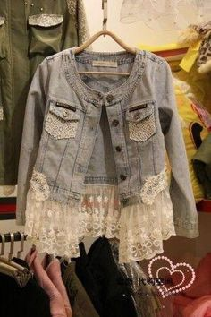 Lace spciling denim coat - US$ 112.58 I can so make this with scrap lace and a coat I already have for free! yay!! by Buy Lizzie
