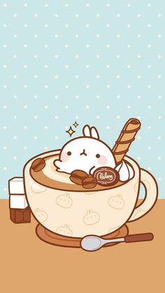 Find images and videos about wallpaper, coffee and molang on We Heart It - the app to get lost in what you love. Kawaii Anime, Arte Do Kawaii, Art Kawaii, Cute Kawaii Drawings, Kawaii Doodles, Cute Doodles, Molang, Cute Cartoon Wallpapers, Kawaii Wallpaper