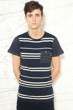 Shore Leave Navy Mixed Stripe Tee at Urban Outfitters