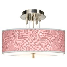 """Brushed Steel 14"""" Wide Ceiling Light with Opaque Shade"""