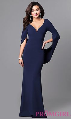 V-Neck Long Navy Blue Prom Dress with Long Sleeves at PromGirl.com