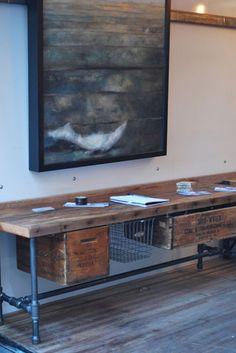 75 Man Cave Furniture Ideas for Men - Male Interior Designs - DIY Desk Ideen Industrial Design Furniture, Industrial Interiors, Rustic Furniture, Furniture Design, Furniture Ideas, Industrial Bedroom, Modern Interiors, Furniture Online, Industrial Bookshelf