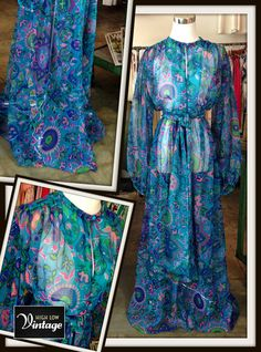Vintage Blue Purple Paisley Sheer Chiffon Long by HighLowVintage