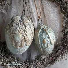 2 Ornaments Easter eggs made of clay and finished with soft blue green and gold Beautiful Ornamental Eggs Ornament Crafts, Xmas Ornaments, Christmas Baubles, Easter Egg Crafts, Easter Gift, Easter Eggs, Iron Orchid Designs, Christmas Blessings, Free To Use Images