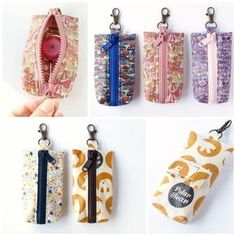 haco28+ - リールキーホルダーポーチなど Small Sewing Projects, Sewing Crafts, Sewing To Sell, Diy Keychain, Keychains, Small Leather Goods, Cotton Bag, Zipper Bags, Small Bags