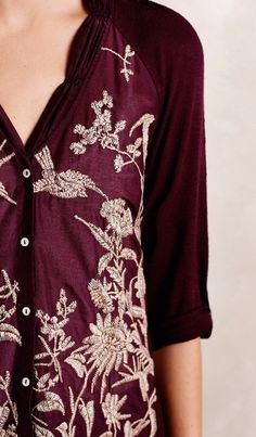 Quintana Buttondown - I like the feminine quality of this blouse and the deep burgundy/red color.