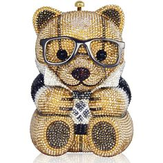 Judith Leiber Couture Spencer Teddy Bear Evening Clutch Bag (€4.255) ❤ liked on Polyvore featuring bags, handbags, clutches, judith leiber, holiday purse, special occasion handbags, special occasion purses, cocktail purse and chain-strap handbags