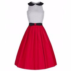 LINDY BOP 'Emmy' Red White Black Polka Bow Vintage Style Swing Dress