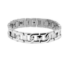 Three Keys Jewelry Lover's Couple Fashion Energy Magnetic Titanium Steel Bracelet Wrist Link Inlay CZ Silver, Antifatigue, Pain Relief, Anti-radiation,Free Link Removal Fit (Women)