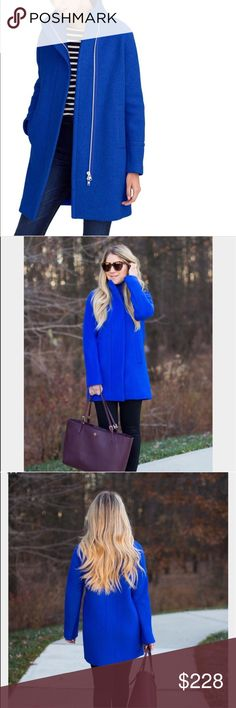 """Like New. J. Crew Tall stadium-cloth cocoon coat Excellent Condition. Barely worn. Armpit to armpit 21.5"""". Waist 42"""". Hip 43"""". Ly35.5"""".  Our coat crush: a cozy cocoon silhouette in stadium-cloth wool made especially for us by Italy's Nello Gori mill. Inspired by the fabric used in old-school stadium blankets, it adds warmth without the bulk—and we've been using it in our collection every year since 2006. We also love this style's longer length, sleek topstitching and roomy pockets. Go behind…"""