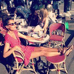 sunbathing a la Parisienne, rondini sandals, vintage polka dot red dress
