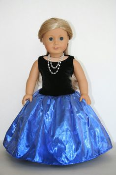 Learn how to make American Girl doll clothes for your child. This page of American Girl Doll Sewing Patterns has dresses, skirts, and costumes. American Girl Outfits, American Girl Diy, American Doll Clothes, American Girl Dolls, American Dress, Sewing Doll Clothes, Girl Doll Clothes, Dress Clothes, Girl Clothing