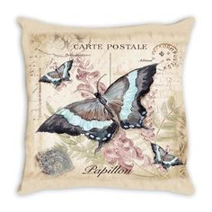 Throw Pillow. Beautiful Vintage ButterflyThrow Pillow