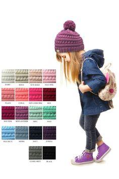 21aebcf7b70a6 Kids - Fits 2-12 Years - 100% Acrylic Pom Pom Hat