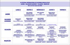 Programación general del XV Festival Internacional de Guitarra Sinaloa 2015, del 2 al 6 de marzo de 2015