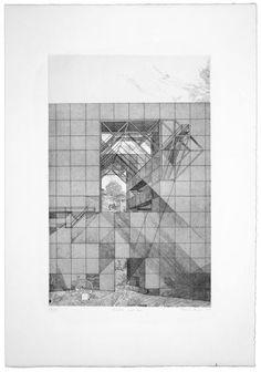 """Franco Purini, Finestra come casa, 1977, Acquaforte - acquatinta su carta Rosaspina, 70x50 cm, ciclo """"Pareti. 1977: sette incisioni"""" #sketch"""
