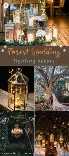 Top 60 Most Ethereal Redwood Forest Wedding Ideas to Take Your Breath Away---lighting decors for woodland weddings, Nestldown weddings, fall or winter weddings, diy wedding decorations.