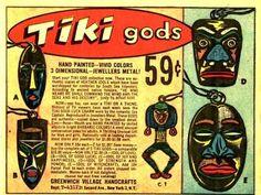 Tiki Gods Hand Painted In Bright Barbaric Colors Vintage Comic Books, Vintage Comics, Vintage Advertisements, Vintage Ads, Tiki Hawaii, Monster Illustration, Tiki Room, Print Ads, Retro Print
