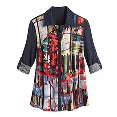 Women's Printed Button Front Collared Shirt With Roll Tab... https://www.amazon.com/dp/B01J4MG3F0/ref=cm_sw_r_pi_dp_O6ZMxbW62BWP3