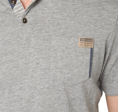 polo shirt with denim details for men (plain-coloured, short-sleeved with a polo collar and half-length button panel) - TOM TAILOR