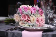 Fashionable charcoal and pink wedding bouquets and decor by Bella Call in Denver.