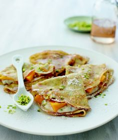 Mango and Ricotta Filled Crepes with Rose Syrup