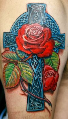 Celtic Cross with roses.  I love the blue.