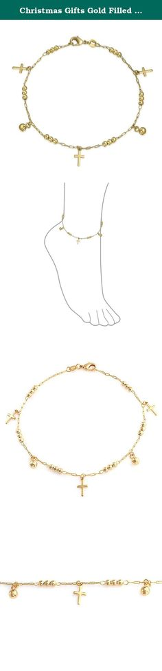 Christmas Gifts Gold Filled Dangling 5mm Cross Beads Religious Anklet 10in. Demonstrate your faith wherever you go, when you wear our eye catching, Gold Filled dangling cross ankle bracelet. Help to express your faith in style with our pretty religious anklet around your fashionable ankle. Made in a dainty pattern of three dangling crucifix charms, two 5mm dangling Gold Filled ball beads and six clusters of three beads each set along a dainty chain, our feminine crucifix anklet has it all…