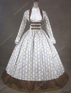 Civil War Victorian Cotton Blends Ball Gown Day Dress Reenactment