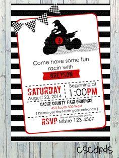 4 Wheeler/ATV Birthday Party Invitation Digital by CScardsShop