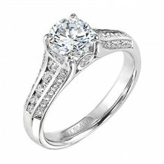 14K White Gold Raven ArtCarved Engagement Ring | Wedding Day Diamonds
